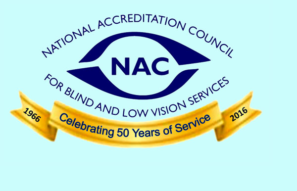 Logo: National Accreditation Council of the Blind and Visually Impaired - celebrating 50 years of service 1966-2016