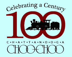 logo of Chattanooga Choo Choo shows a train inside the number 100 and says 'Celebrating a Century